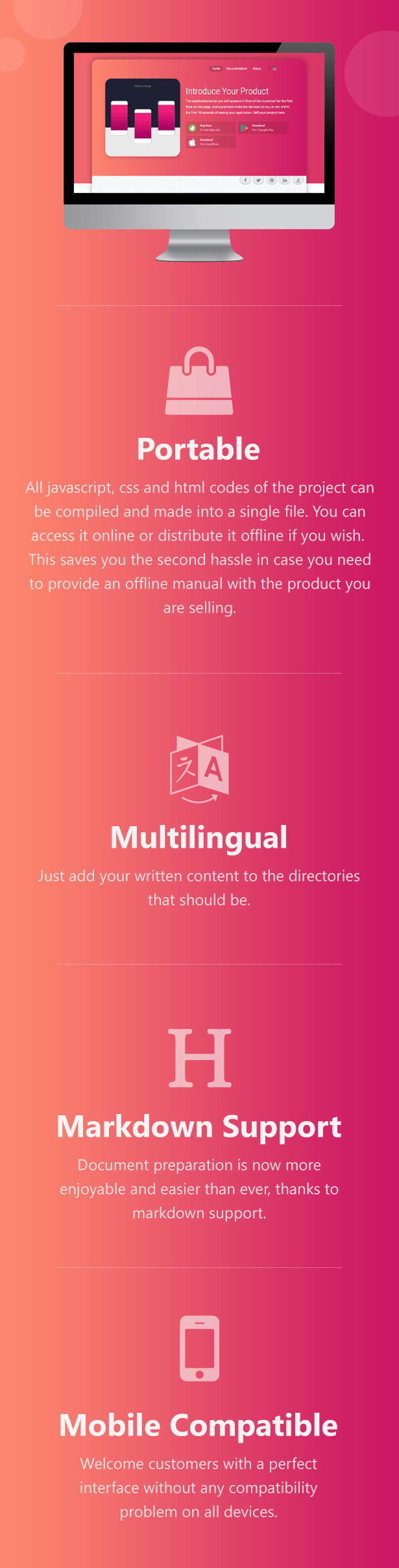 MarketPlace is a portable, multilingual, markdown supported, mobile compatible product/software introducing solution.