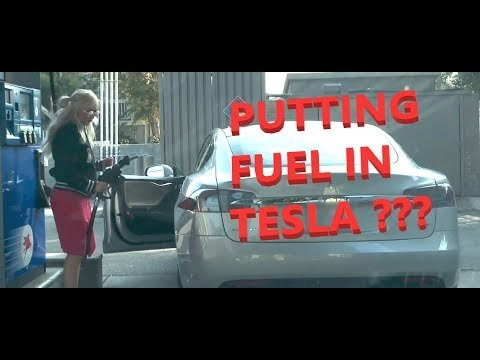 Blonde, Tesla and Gas Station - WHAT CAN GO WRONG ?