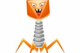 Bakteriyofaj virüs tasviri. Küçük öfkeli mikrop veya canavar.