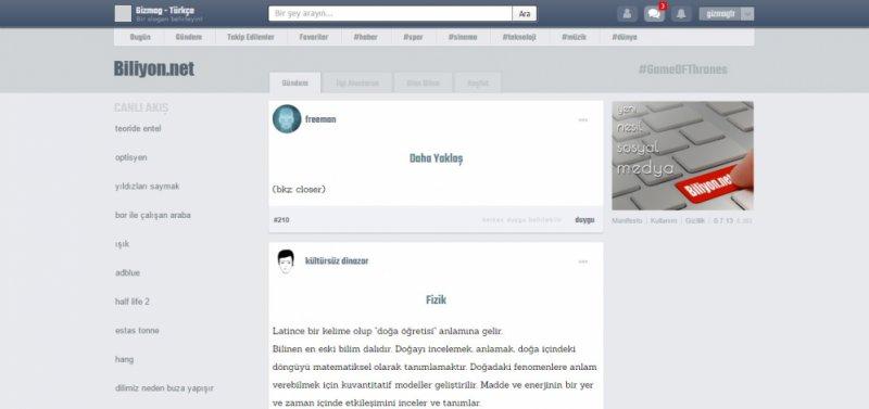 Biliyon.net'in İlk Ana Sayfa Tasarımı